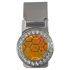 Color Bee Hive Color Bee Hive Pattern Money Clips (cz)  by Nexatart