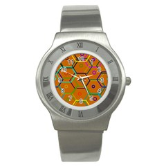 Color Bee Hive Color Bee Hive Pattern Stainless Steel Watch