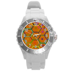 Color Bee Hive Color Bee Hive Pattern Round Plastic Sport Watch (l) by Nexatart