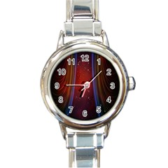 Bright Background With Stars And Air Curtains Round Italian Charm Watch by Nexatart