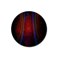 Bright Background With Stars And Air Curtains Rubber Round Coaster (4 Pack)