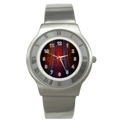 Bright Background With Stars And Air Curtains Stainless Steel Watch