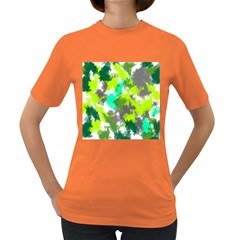 Abstract Watercolor Background Wallpaper Of Watercolor Splashes Green Hues Women s Dark T Shirt by Nexatart