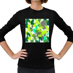 Abstract Watercolor Background Wallpaper Of Watercolor Splashes Green Hues Women s Long Sleeve Dark T Shirts