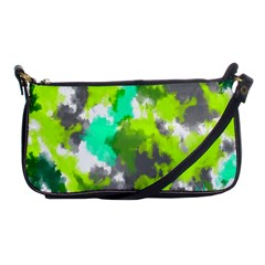 Abstract Watercolor Background Wallpaper Of Watercolor Splashes Green Hues Shoulder Clutch Bags by Nexatart