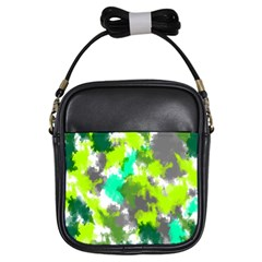Abstract Watercolor Background Wallpaper Of Watercolor Splashes Green Hues Girls Sling Bags by Nexatart