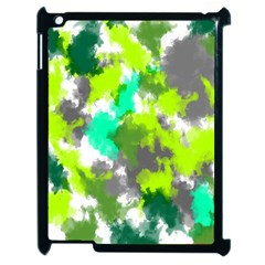 Abstract Watercolor Background Wallpaper Of Watercolor Splashes Green Hues Apple Ipad 2 Case (black) by Nexatart
