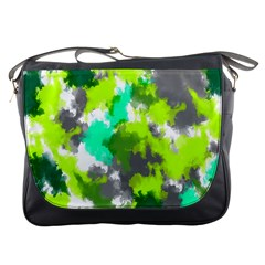 Abstract Watercolor Background Wallpaper Of Watercolor Splashes Green Hues Messenger Bags by Nexatart