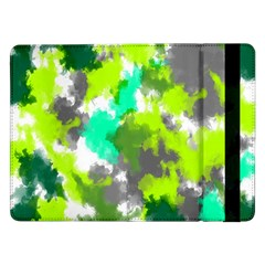 Abstract Watercolor Background Wallpaper Of Watercolor Splashes Green Hues Samsung Galaxy Tab Pro 12 2  Flip Case by Nexatart
