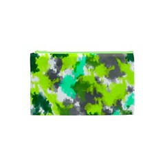 Abstract Watercolor Background Wallpaper Of Watercolor Splashes Green Hues Cosmetic Bag (xs) by Nexatart