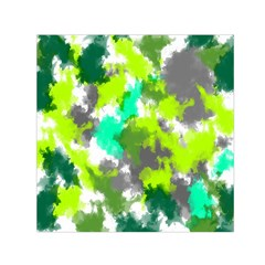 Abstract Watercolor Background Wallpaper Of Watercolor Splashes Green Hues Small Satin Scarf (square) by Nexatart