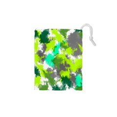 Abstract Watercolor Background Wallpaper Of Watercolor Splashes Green Hues Drawstring Pouches (xs)  by Nexatart