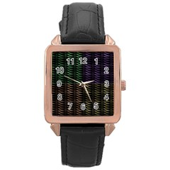 Multicolor Pattern Digital Computer Graphic Rose Gold Leather Watch  by Nexatart
