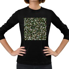 Camouflaged Seamless Pattern Abstract Women s Long Sleeve Dark T Shirts