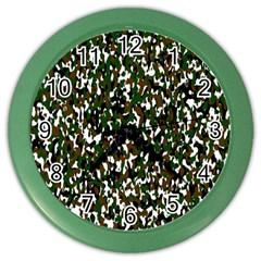 Camouflaged Seamless Pattern Abstract Color Wall Clocks by Nexatart