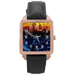 Abstract Background Rose Gold Leather Watch  by Nexatart