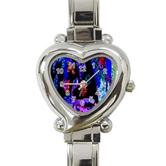 Grunge Abstract In Black Grunge Effect Layered Images Of Texture And Pattern In Pink Black Blue Red Heart Italian Charm Watch by Nexatart