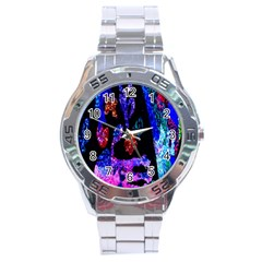 Grunge Abstract In Black Grunge Effect Layered Images Of Texture And Pattern In Pink Black Blue Red Stainless Steel Analogue Watch
