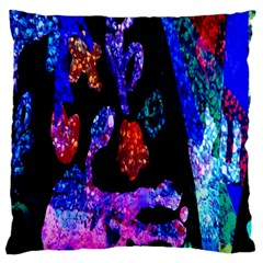 Grunge Abstract In Black Grunge Effect Layered Images Of Texture And Pattern In Pink Black Blue Red Large Cushion Case (two Sides) by Nexatart