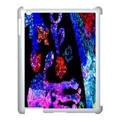 Grunge Abstract In Black Grunge Effect Layered Images Of Texture And Pattern In Pink Black Blue Red Apple Ipad 3/4 Case (white) by Nexatart