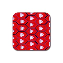 Red Bee Hive Background Rubber Square Coaster (4 Pack)  by Nexatart