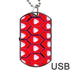 Red Bee Hive Background Dog Tag Usb Flash (one Side) by Nexatart