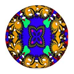 Digital Kaleidoscope Round Filigree Ornament (two Sides) by Nexatart