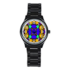 Digital Kaleidoscope Stainless Steel Round Watch by Nexatart
