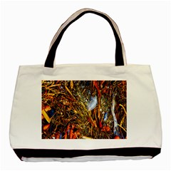 Abstract In Orange Sealife Background Abstract Of Ocean Beach Seaweed And Sand With A White Feather Basic Tote Bag (two Sides)