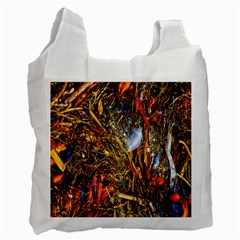 Abstract In Orange Sealife Background Abstract Of Ocean Beach Seaweed And Sand With A White Feather Recycle Bag (one Side) by Nexatart