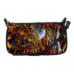 Abstract In Orange Sealife Background Abstract Of Ocean Beach Seaweed And Sand With A White Feather Shoulder Clutch Bags by Nexatart