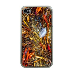 Abstract In Orange Sealife Background Abstract Of Ocean Beach Seaweed And Sand With A White Feather Apple Iphone 4 Case (clear) by Nexatart