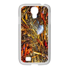 Abstract In Orange Sealife Background Abstract Of Ocean Beach Seaweed And Sand With A White Feather Samsung Galaxy S4 I9500/ I9505 Case (white)