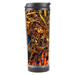 Abstract In Orange Sealife Background Abstract Of Ocean Beach Seaweed And Sand With A White Feather Travel Tumbler by Nexatart