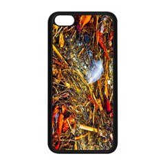 Abstract In Orange Sealife Background Abstract Of Ocean Beach Seaweed And Sand With A White Feather Apple Iphone 5c Seamless Case (black) by Nexatart