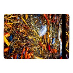 Abstract In Orange Sealife Background Abstract Of Ocean Beach Seaweed And Sand With A White Feather Samsung Galaxy Tab Pro 10 1  Flip Case by Nexatart