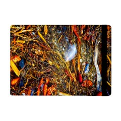 Abstract In Orange Sealife Background Abstract Of Ocean Beach Seaweed And Sand With A White Feather Ipad Mini 2 Flip Cases by Nexatart