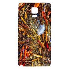 Abstract In Orange Sealife Background Abstract Of Ocean Beach Seaweed And Sand With A White Feather Galaxy Note 4 Back Case