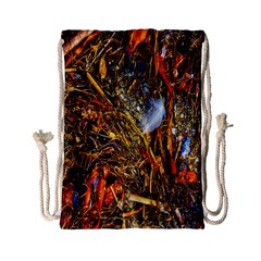 Abstract In Orange Sealife Background Abstract Of Ocean Beach Seaweed And Sand With A White Feather Drawstring Bag (small) by Nexatart