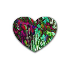 Bright Tropical Background Abstract Background That Has The Shape And Colors Of The Tropics Rubber Coaster (heart)