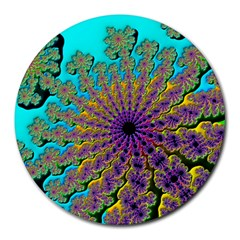 Beautiful Mandala Created With Fractal Forge Round Mousepads by Nexatart
