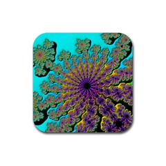Beautiful Mandala Created With Fractal Forge Rubber Coaster (square)  by Nexatart
