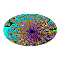 Beautiful Mandala Created With Fractal Forge Oval Magnet by Nexatart