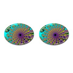 Beautiful Mandala Created With Fractal Forge Cufflinks (oval)