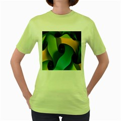 Ribbons Of Blue Aqua Green And Orange Woven Into A Curved Shape Form This Background Women s Green T Shirt