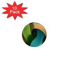 Ribbons Of Blue Aqua Green And Orange Woven Into A Curved Shape Form This Background 1  Mini Magnet (10 Pack)  by Nexatart