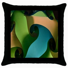 Ribbons Of Blue Aqua Green And Orange Woven Into A Curved Shape Form This Background Throw Pillow Case (black) by Nexatart