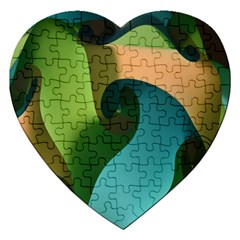 Ribbons Of Blue Aqua Green And Orange Woven Into A Curved Shape Form This Background Jigsaw Puzzle (heart) by Nexatart