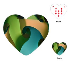 Ribbons Of Blue Aqua Green And Orange Woven Into A Curved Shape Form This Background Playing Cards (heart)  by Nexatart