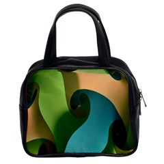 Ribbons Of Blue Aqua Green And Orange Woven Into A Curved Shape Form This Background Classic Handbags (2 Sides) by Nexatart